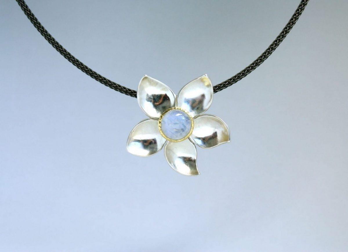Blütenanhänger Silber Gold Spektrolith